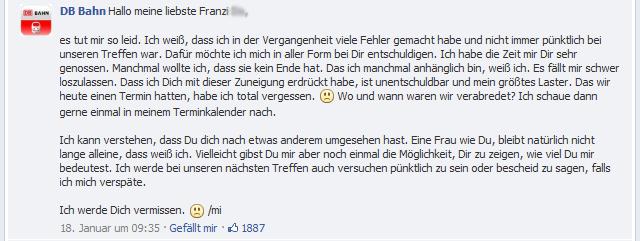 DB Bahn Antwort auf Franzi Do