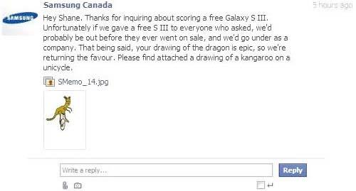 Samsung Canada antwortet mit einem selbstgezeichneten Känguru