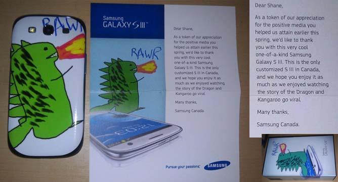Samsung Canada schenkt Shane ein Galaxy S3 mit dem Drachen auf der Schale